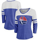 Florida Gators Fanatics Branded Women's Vault Primary Logo Raglan 3/4 Sleeve Tri-Blend Long Sleeve T-Shirt – Heathered Royal/Whi