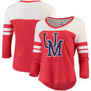 Ole Miss Rebels Fanatics Branded Women's Vault Primary Logo Raglan 3/4 Sleeve Tri-Blend Long Sleeve T-Shirt – Heathered Red/Whit