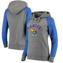 Kansas Jayhawks Fanatics Branded Women's Vault Arch Over Logo Raglan Pullover Hoodie - Heathered Gray