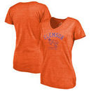 Clemson Tigers Fanatics Branded Women's Vault Arch Over Logo Tri-Blend V-Neck T-Shirt - Orange