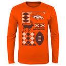 Denver Broncos Youth Holiday Rooftop Reindeer Long Sleeve T-Shirt – Orange