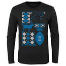 Carolina Panthers Youth Holiday Rooftop Reindeer Long Sleeve T-Shirt – Black