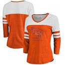 Clemson Tigers Fanatics Branded Women's Vault Primary Logo Raglan 3/4 Sleeve Tri-Blend Long Sleeve T-Shirt – Heathered Orange/Wh