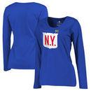 New York Rangers Fanatics Branded Women's 2018 NHL Winter Classic Team Primary Plus Size Long Sleeve V-Neck T-Shirt - Royal