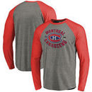 Montreal Canadiens Fanatics Branded 2017 NHL 100 Classic Vintage Iced Tri-Blend Long Sleeve Raglan T-Shirt - Heather Gray