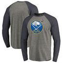 Buffalo Sabres Fanatics Branded 2018 NHL Winter Classic Vintage Big & Tall Tri-Blend Long Sleeve Raglan T-Shirt – Heather Gray