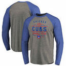Chicago Cubs Fanatics Branded Cooperstown Doubleday Long Sleeve Raglan T-Shirt – Heathered Gray