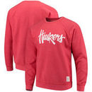 Nebraska Cornhuskers Original Retro Brand School Logo Tri-Blend Pullover Sweatshirt – Heathered Scarlet