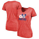 Philadelphia Phillies Fanatics Branded Women's Disney Rally Cry Tri-Blend V-Neck T-Shirt - Red