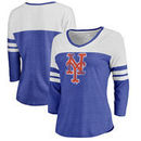 New York Mets Fanatics Branded Women's Distressed Team Logo 3/4 Sleeve Tri-Blend T-Shirt - Royal/White