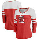 St. Louis Cardinals Fanatics Branded Women's Distressed Team Logo 3/4 Sleeve Tri-Blend T-Shirt - Red/White