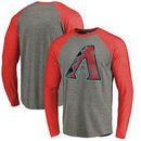Arizona Diamondbacks Fanatics Branded Distressed Team Long Sleeve Tri-Blend Raglan T-Shirt - Gray/Red