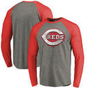 Cincinnati Reds Fanatics Branded Distressed Team Long Sleeve Tri-Blend Raglan T-Shirt - Gray/Red