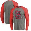 St. Louis Cardinals Fanatics Branded Distressed Team Long Sleeve Tri-Blend Raglan T-Shirt - Gray/Red