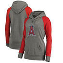 Los Angeles Angels Fanatics Branded Women's Distressed Team Logo Tri-Blend Raglan Pullover Hoodie - Gray/Red