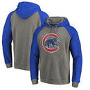 Chicago Cubs Fanatics Branded Distressed Team Logo Tri-Blend Raglan Pullover Hoodie - Gray/Royal