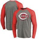 Cincinnati Reds Fanatics Branded Distressed Team Big & Tall Long Sleeve Tri-Blend Raglan T-Shirt - Gray/Red