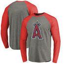 Los Angeles Angels Fanatics Branded Distressed Team Big & Tall Long Sleeve Tri-Blend Raglan T-Shirt - Gray/Red