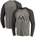 Miami Marlins Fanatics Branded Distressed Team Big & Tall Long Sleeve Tri-Blend Raglan T-Shirt - Gray/Black