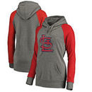 St. Louis Cardinals Fanatics Branded Women's Distressed Team Logo Tri-Blend Plus Size Raglan Pullover Hoodie - Gray/Red