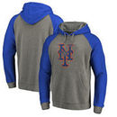 New York Mets Fanatics Branded Distressed Team Logo Tri-Blend Big & Tall Raglan Pullover Hoodie - Gray/Royal