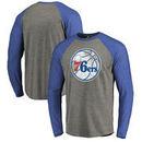 Philadelphia 76ers Fanatics Branded Distressed Logo Tri-Blend Raglan Long Sleeve T-Shirt - Ash/Royal