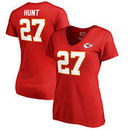Kareem Hunt Kansas City Chiefs NFL Pro Line by Fanatics Branded Women's Authentic Stack Name & Number V-Neck T-Shirt - Red