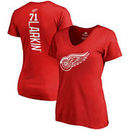 Dylan Larkin Detroit Red Wings Fanatics Branded Women's Plus Size Backer Name & Number V-Neck T-Shirt – Red