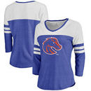 Boise State Broncos Fanatics Branded Women's Primary Logo Color Block 3/4 Sleeve Tri-Blend T-Shirt - Royal