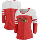Illinois State Redbirds Fanatics Branded Women's Primary Logo Color Block 3/4 Sleeve Tri-Blend T-Shirt - Red