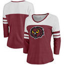 Temple Owls Fanatics Branded Women's Primary Logo Color Block 3/4 Sleeve Tri-Blend T-Shirt - Garnet