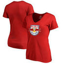 New York Red Bulls Fanatics Branded Women's Primary Logo Slim Fit V-Neck T-Shirt - Red