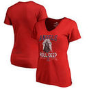 Los Angeles Angels Fanatics Branded Women's Roll Deep with the Empire V-Neck T-Shirt - Red