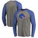 Boise State Broncos Fanatics Branded Primary Logo Long Sleeve Tri-Blend Raglan T-Shirt - Heathered Gray