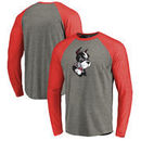 Boston University Fanatics Branded Primary Logo Long Sleeve Tri-Blend Raglan T-Shirt - Heathered Gray