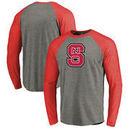 NC State Wolfpack Fanatics Branded Primary Logo Long Sleeve Tri-Blend Raglan T-Shirt - Heathered Gray