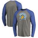 San Jose State Spartans Fanatics Branded Primary Logo Long Sleeve Tri-Blend Raglan T-Shirt - Heathered Gray