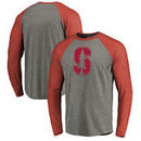 Stanford Cardinal Fanatics Branded Primary Logo Long Sleeve Tri-Blend Raglan T-Shirt - Heathered Gray