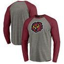 Temple Owls Fanatics Branded Primary Logo Long Sleeve Tri-Blend Raglan T-Shirt - Heathered Gray