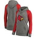 Louisville Cardinals Fanatics Branded Women's Primary Logo Tri-Blend Raglan Pullover Hoodie - Heathered Gray
