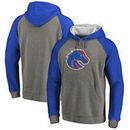 Boise State Broncos Fanatics Branded Primary Logo Tri-Blend Raglan Pullover Hoodie - Heathered Gray