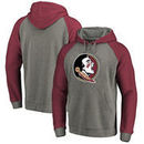 Florida State Seminoles Fanatics Branded Primary Logo Tri-Blend Raglan Pullover Hoodie - Heathered Gray