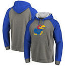 Kansas Jayhawks Fanatics Branded Primary Logo Tri-Blend Raglan Pullover Hoodie - Heathered Gray