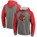 Louisville Cardinals Fanatics Branded Primary Logo Tri-Blend Raglan Pullover Hoodie - Heathered Gray