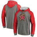 Maryland Terrapins Fanatics Branded Primary Logo Tri-Blend Raglan Pullover Hoodie - Heathered Gray
