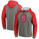NC State Wolfpack Fanatics Branded Primary Logo Tri-Blend Raglan Pullover Hoodie - Heathered Gray