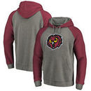 Temple Owls Fanatics Branded Primary Logo Tri-Blend Raglan Pullover Hoodie - Heathered Gray