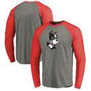 Boston University Fanatics Branded Primary Logo Long Sleeve Tri-Blend Big & Tall Raglan T-Shirt - Heathered Gray