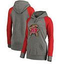 Maryland Terrapins Fanatics Branded Women's Primary Logo Tri-Blend Raglan Plus Size Pullover Hoodie - Heathered Gray