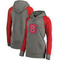 NC State Wolfpack Fanatics Branded Women's Primary Logo Tri-Blend Raglan Plus Size Pullover Hoodie - Heathered Gray